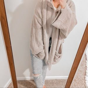 Free People Fuzzy Cozy Long Oversized Boho Pocket Cardigan